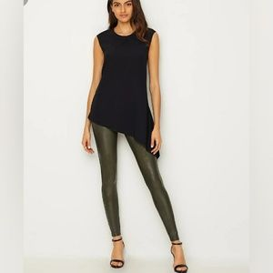 spanx faux leather leggings in rich olive